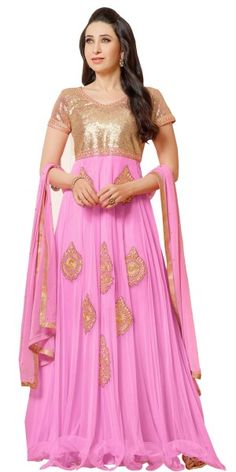 Glorious Pink And Beige Net Anarkali Suit.