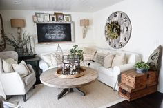 Cozy Neutral Farmhouse Style Living Room - With Ikea Ektorp Sectional. Cozy cottage style vibe makeover progress with source list of everything in the room - Great pin for neutral cozy home decor! Cozy Living Rooms, New Living Room, Living Room Furniture, Living Room Decor, Small Living, Modern Living, Cozy House, Cozy Cottage, Cottage Style