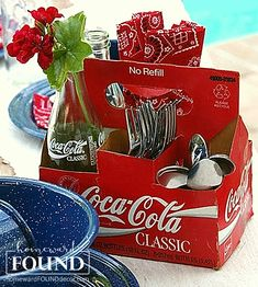 repurpose a soda bottle box as a condiment or silverware caddy for a fun summertime centerpiece! Blue Birthday, Dad Birthday, 4th Of July Party, Fourth Of July, Rockabilly Party, Living Vintage, Red Geraniums, Simple Centerpieces, Bottle Box