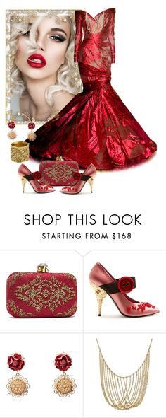 """""""Elegant Red Gown"""" by sherrysrosecottage-1 ❤ liked on Polyvore featuring Tadashi Shoji, Prada, Dolce&Gabbana and Chanel"""
