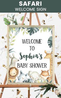 Safari Baby Shower, Safari Jungle Baby Shower, Tropical Baby Shower, Zoo animals Baby Shower, Wild animals Baby Shower, Welcome Sign, Safari Welcome Sign Baby Shower