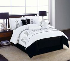 black white pattern Comforter Sets with black bed combined by black table lamp on brown wooden bedside table on white fur rug . Breathtaking Ideas Of Modern Comforter Sets To Complete Bed Design King Size Bedding Comforters, Queen Comforter Sets, Bedding Sets, Black And White Bedspreads, Modern Comforter Sets, White Fur Rug, Wooden Bedside Table, Table Lamp, Black Bedroom Furniture