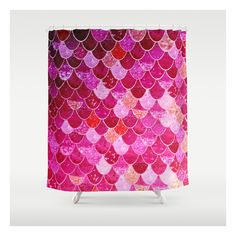 Pink  Mermaid Shower Curtain ($68) ❤ liked on Polyvore featuring home, bed & bath, bath, shower curtains, pink shower curtains, pink shower liner and mermaid shower curtains