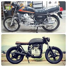 Before and after of the cx500! #caferacer #hondamotorcycles #vintagemotorcycle #custom #custombike #motorcycle #lakecaferacers #caferacerdreams #lakegirlpictures #vintage #cx500cafe #caferacerxxx #caferacersofinstagram #caferacerworld #caferacerporn #caferacerculture #dropmoto #hondacaferacer #paragon_moto #dimecitycycles #cx500brat #cx500