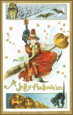A Halloween Witch dressed in read, flys here broom through the scene filled with stars. An owl sits in a tree and watches as bats fly past him in front of a crescent moon. The boom appears to have skewed a jack-o-lantern as it flies through the air with the witch holding onto the reins.   This image would be great for Halloween cards and great poster to hang on your wall. And don't forget to look at the t-shirts, cell phone covers, tote bags and other great products!