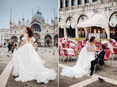 Sesja ślubna w Wenecji - bride on saint Mark platz Saints, Bride, Wedding Dresses, Fashion, Fotografia, Wedding Bride, Bride Dresses, Moda, Bridal Gowns