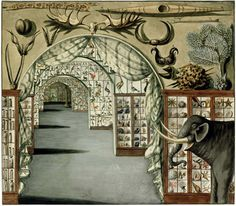 Perspective view of Sir Ashton Lever's Museum, Leicester Square, London. Watercolour by Sarah Stone