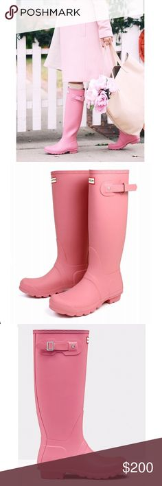 💘Pink Hunter Rain Boots In GUC condition, will load more photos. Has reflection patches on the back. Size says 4M/5F EU 35/36 Hunter Boots Shoes Winter & Rain Boots