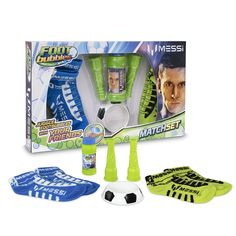 Foot Bubbles Messi - Match Pack, un set que incluye con 4 calcetines, 2 sopladores, 1 base y 1 tubo de líquido para burbujas.