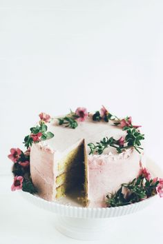 Buttermilk Cake with Rhubarb Frosting & Cardamom Cream. A gorgeous cake to brighten this February day.
