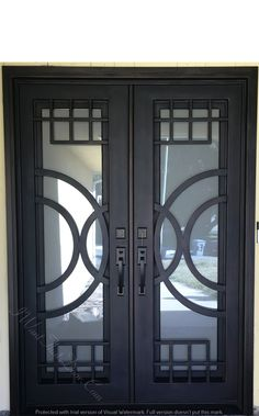 Moderno wrought iron double door installed by universal iron doors installer. Call now to get free estimate. Our office number is 818.771.1003