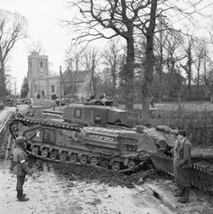 Churchill IV tank enters a village during Exercise 'Spartan', 9 March 1943. #worldwar2 #tanks