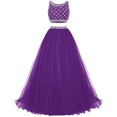 Bridesmay Long Tulle Prom Dress Two Piece Beaded Party Dress... (1.468.145 IDR) ❤ liked on Polyvore featuring dresses, purple prom dresses, bridesmaid dresses, beaded prom dresses, two-piece dresses and two piece bridesmaid dresses