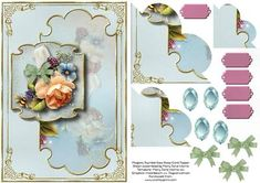 The simple beauty of this card is perfect for celebrating so many of life's special occasions!  A lovely floral corner stacker design with sentiment tags and decoupage/layer pieces.