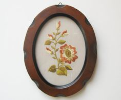 Vintage Embroidered Floral Needlepoint in Oval by TheHiddenGrove