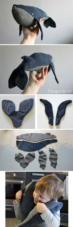 Create this amazing DIY whale soft toy by sewing old denim jeans fabric!