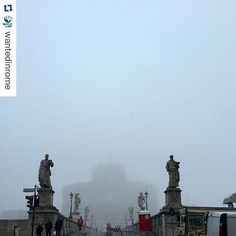 Unusual foggy day in #Rome shot by @wantedinrome #castelsantangelo