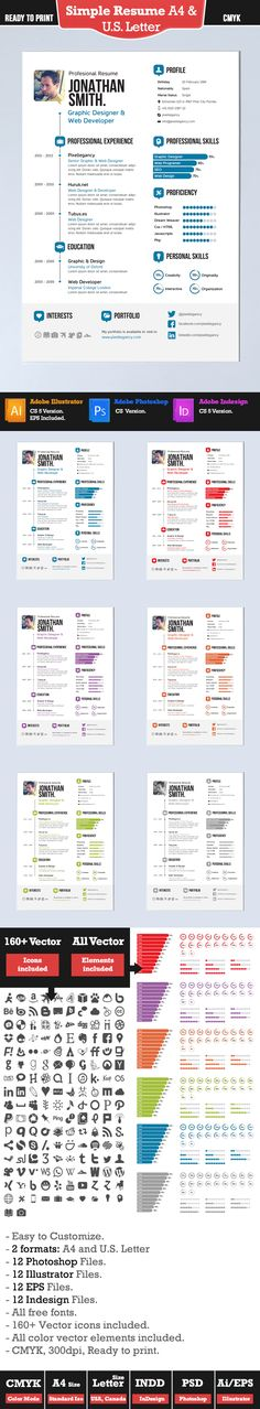 30+ Examples of Creative Graphic Design Resumes (Infographics - simple one page resume template