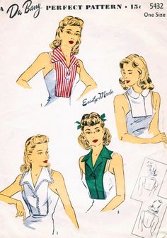 1940s LOVELY Dickey Set Pattern DUBARRY 5432 Four Fab Styles Great Under Suits, Sweaters One Size Vintage Sewing Pattern
