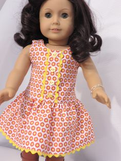Sewing Patterns Free, Doll Patterns, Girl Doll Clothes, Girl Dolls, Floral Sundress, Doll Dresses, 18 Inch Doll, Diy Doll, Jumpers