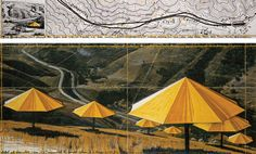 """Christo The Umbrellas (Joint Project for Japan and USA) Drawing 1988 in two parts 15 x 96"""" and 42 x 96"""" (38 x 244 cm and 106.6 x 244 cm) Pencil, pastel, charcoal, photograph by Wolfgang Volz, wax crayon, enamel paint and topographic map"""