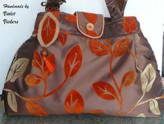Handbag brown with gold and olive green leaf design £20.00