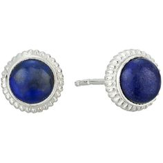 Shinola Detroit Coin Edge Studs with Lapis (Sterling Silver/Lapis)... ($250) ❤ liked on Polyvore featuring jewelry, earrings, post earrings, sterling silver jewelry, sterling silver stud earrings, sterling silver earrings and studded jewelry
