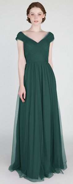 elegant emerald green v neck tulle bridesmaid dress for 2018 trends #bridesmaiddresses #bridalparty #greenwedding