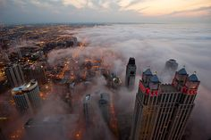 fog covered chicago at dusk