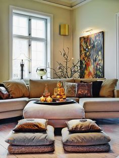 """Asian style - seating with cushions. Like the floor pillows...BBC Boracay says: """" Poufs, ottomans or your very own style. Add colors and patterns to your living space..."""""""