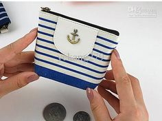 Wholesale Fashion wallet navy wind anchor striped canvas small zipper handbag bags 7, Free shipping, $1.47-1.71/Piece | DHgate