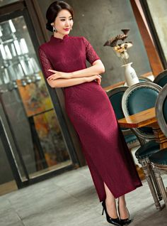 Elegant Burgundy Full Length Cheongsam Dress Full of Lace - iDreamMart.com