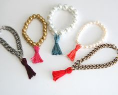 studs and pearls: diy: Thread Tassel Bracelet