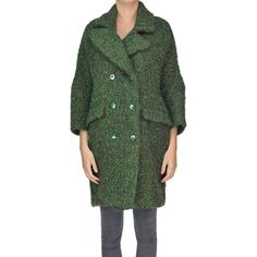 Femme by Michele Rossi Double-Breasted Boucle Coat ($344) ❤ liked on Polyvore featuring outerwear, coats, double-breasted coat, collar coat, flare coats, flared coats and green double breasted coat