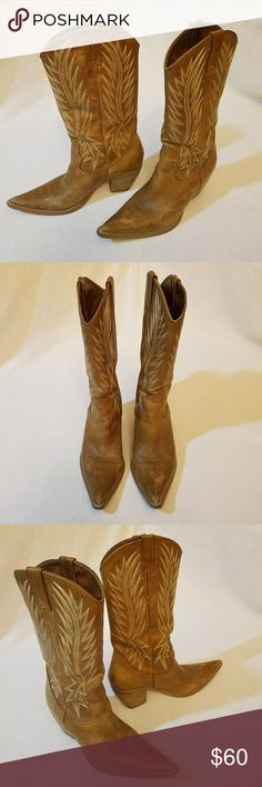 🆕Listing! Penny ♥ Kenny Cowboy boots Cool western boots in classic tan by Penny Loves Kenny. Genuine leather. 2 1/2 inch heel.  Stitch detail. Preloved and in great condition.  Some minor scuffs and flaw on  back of right boot which can be seen in pic #5. The scuffs don't take away from the beauty of these boots. Add them to your boot collection! Penny Loves Kenny Shoes Heeled Boots
