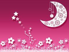 Flores luna y estrellas