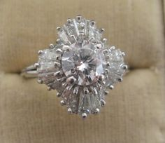 Ring: Diamond Cluster Ballerina ring.c.1950s. center D. 1ct, total 2.5ct.