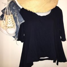 "FP Oversized Crop Top Navy blue oversized crop top, almost hits the waist line. Longer on one side than the other, nice ""swing"" fit. Free People Tops Blouses"