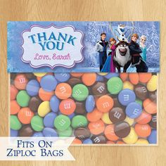 Disney Frozen Favor Bag Toppers - Customized Disney Frozen Birthday Printable Party Treat Candy Loot Bags Olaf