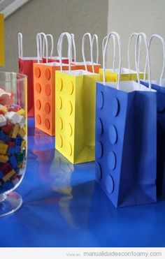 DIY lego bag for boys birthday party. Use a solid color bag and cut out circles from craft foam and then glue it on the bag to make it look like an actual lego brick! Boy Birthday, Birthday Parties, Birthday Ideas, Lego Parties, Birthday Celebration, Kid Parties, Birthday Cupcakes, Birthday Gifts, Birthday Favors