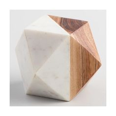 Cost Plus World Market Wood and Marble Geometric Paperweight ($11) ❤ liked on Polyvore featuring home, home decor, office accessories, marble paperweight and cost plus world market