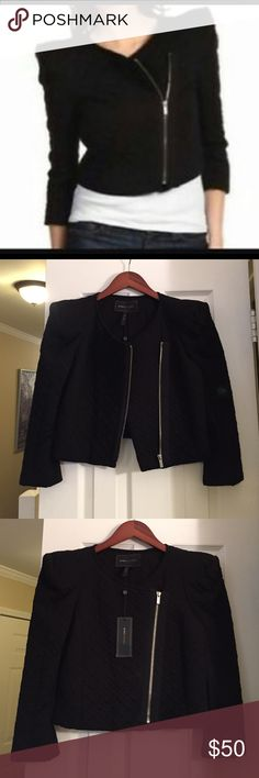 Black bcbg quilted moto jacket Brand new with tags black off center zip up quilted moto jacket with strong shape shoulders and long sleeves that zip and unzip at the base of the sleeve BCBGMaxAzria Jackets & Coats