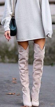 Sweater dress + OTK boots.