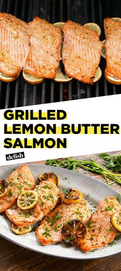 Grilled Lemon Butter Salmon your new go-to healthy summer dinner Get the recipe at recipe easy easyrecipe salmon seafood grill grilling healthy dinner dinnerrecipe easydinner healthyrecipe lemon butter Grilling Recipes, Fish Recipes, Seafood Recipes, Dinner Recipes, Cooking Recipes, Healthy Recipes, Grilling Ideas, Bbq Recipes In Foil, Vegaterian Recipes