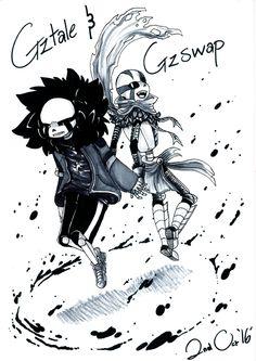 GZtale and GZSwap (Sanses) [traditional drawing] by GolzyBlazey.deviantart.com on @DeviantArt