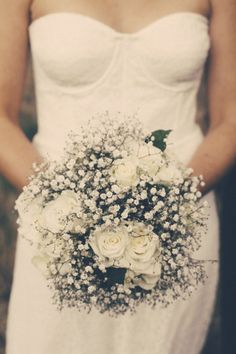 Gypsophilia and white roses wedding bouquet. I Got You Babe Wedding Photography