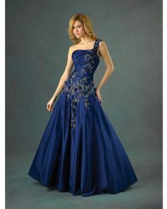A-line One Shoulder Taffeta Floor-length RoyalBule Quinceanera Dress