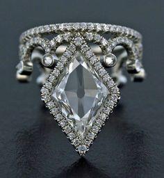Lozenge Cut Diamond, Diamond and Platinum Ring by James de Givenchy #Taffin #JamesdeGivenchy #Ring