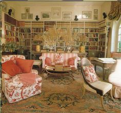 The library in the home of Nancy Lancaster, the late, legendary English country house interior designer. The library was created from an orangery, an outbuilding next to the coach house in which she lived during her last years.