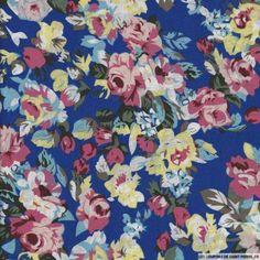 Coton imprimé fleurs multicolores sur fond noir